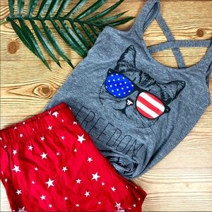 American Flag 2pc. Festive Freedom Cat Outfit